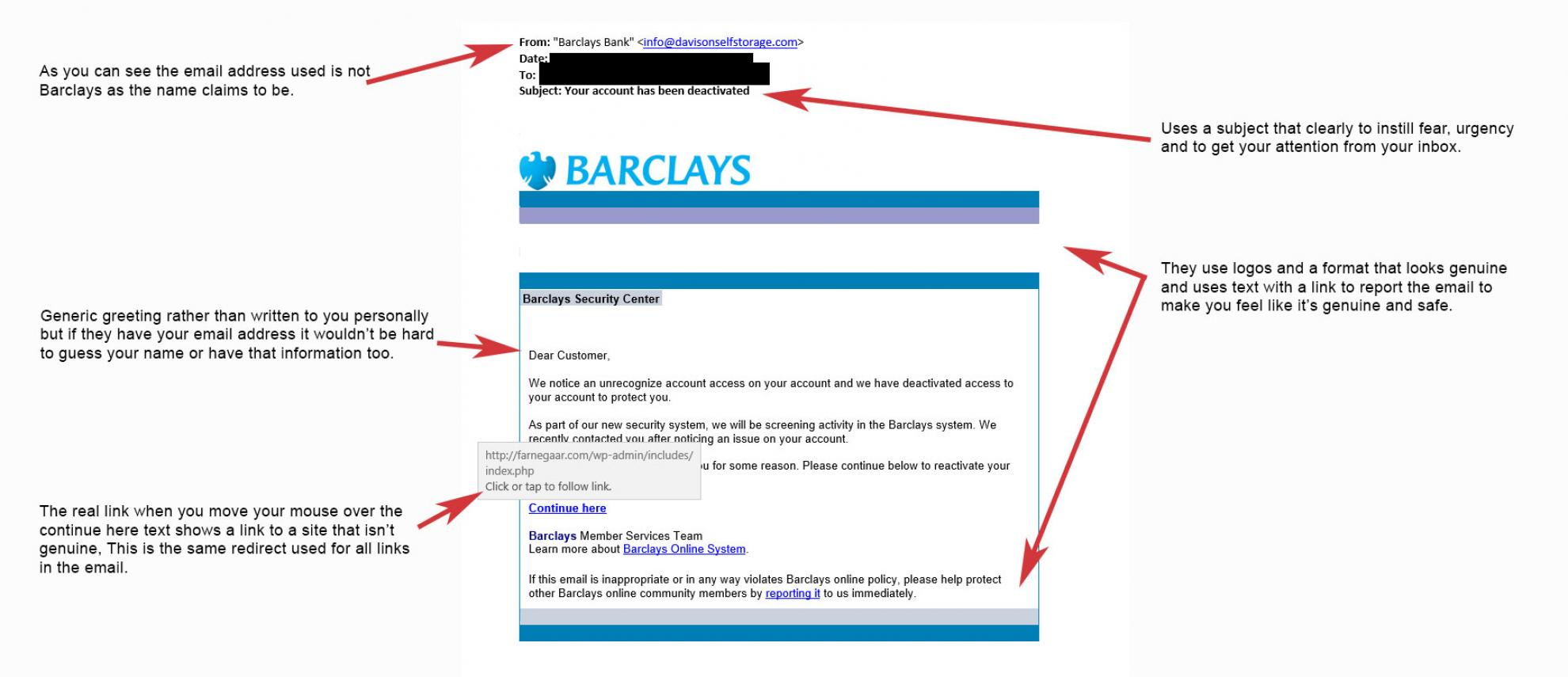 Scam Email Example - Barclays